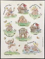 Vintage Hallmark Stickers - Teddy Bears - Adorable - Dated 1993