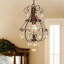 Rustic Crystal Chandelier Antique Vintage Lighting Light Fixture Hanging Pendant