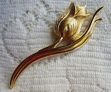 VINTAGE MONET GOLD TONE FLOWER TULIP BROOCH PIN