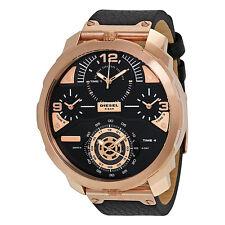 NWT Diesel Men's Watch Black Leather Rose Gold 4 Time Zone MACHINUS DZ7380 $350