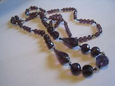 Vintage Continuous Strand Necklace W/Purple/Amethyst Glass Beads, 36""