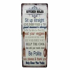 Country Metal Tin Sign Wall Art KITCHEN RULES Plaque Rustic