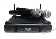 "2x Wireless Microphone ""UHF"" Cordless DJ Karaoke Professional System"
