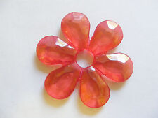5 Large Transparent Acrylic Flower Beads - 57mm- Red