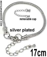 4 pcs Silver plated 17cm Snake chain bracelet w/lobster clasp fits European bead