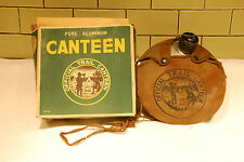 Vintage Pure Aluminum Canteen - Aluminum Canteen in Canvas Case THE CAMPER w/Box
