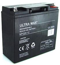 2 (PAIR) x 12V 20Ah Ultra Max Gel Scellé Batterie rechargeable Veille & cyclique