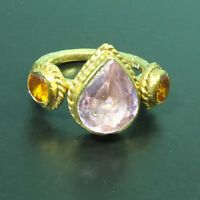 Handmade Hammered  Citrin & Pink  Topaz Ring 22K Gold over 925K Sterling Silver
