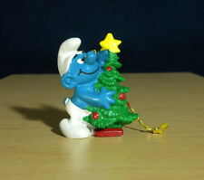 Smurfs Christmas Tree Ornament Vintage Smurf Figure PVC Gold Cord Figurine 51901