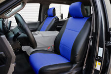 FORD F-150 2015-2018 BLACK/BLUE LEATHER-LIKE CUSTOM MADE FIT FRONT SEAT COVER