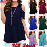 Women Ladies Short Sleeve Cold Shoulder T-shirt Tops Summer O Neck Casual Blouse