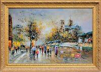 Gold Framed Oil Painting, Notre-Dame de Paris Cityscape, French Scene Landscape