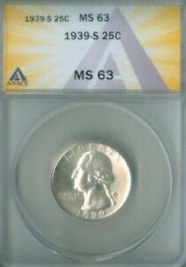 1939-S Washington Quarter Dollar ANACS MS-63 FREE S/H (2127121)