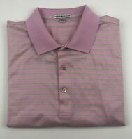 Peter Millar Pink Short Sleeve Men's Polo Golf Shirt Size XL Sz X-Large Striped