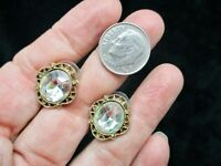 "Authentic ""1928 Jewelry"" Gold Tone Rhinestone Pierced Earrings"