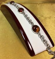 Vintage 925 Sterling Silver/Amber Gemstone Ladies Bracelet Fine Jewelry