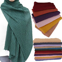 Women's Female Plain Pleated Chiffon Hijab Scarf Crinkle Shawl Muslim Head Wraps
