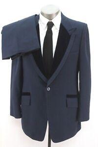 mens blue velvet VINTAGE 70s TUXEDO 2pc Pant Suit retro disco classic 44 L