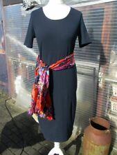Wadenlang.Kleid L 42 44 46 Midi Ripp Shirt-Kleid sexy Schlitz Du.Blau BW.Elastan