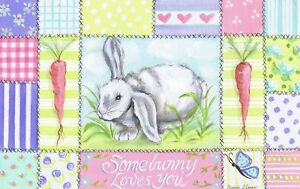 The Kids Room by Stupell Somebunny Loves You with Carrots and Patchwork Border