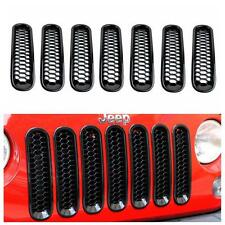7pcs Honeycomb Front Grille Grill Mesh Insert Trim For Jeep Wrangler 2007-2017