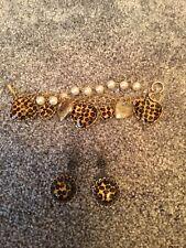 And Bracelet Set Valentines Rare Betsey Johnson Heart Leopard Earrings