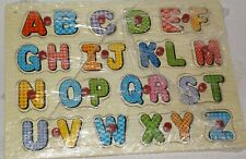 A - Z COLOURFUL ALPHABET WOODEN INSET PUZZLE SET WITH EASY GRIP PEGS