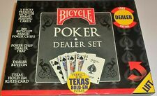 Bicycle Poker Dealer Set Texas Hold Em 200 Chips  2 Decks Chip Tray & Button NEW