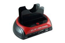 "SISUN 2.5""/3.5"" IDE SATA HDD Docking Station + Card Reader Hub (Red)"