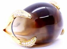 CHIMENTO ITALY 18 KT GOLD DIAMONDS AND  SMOKEY TOPAZ RING DESIGNER JEWELRY