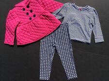 NEW Little Me Girls 2T Top Pants/Leggings Jacket 3 Piece Outfit Set Fall Winter