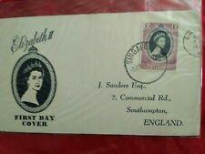 Malaysia Malaya 1953 Coronation Queen Elizabeth QE II FDC PAHANG SINGAPORE