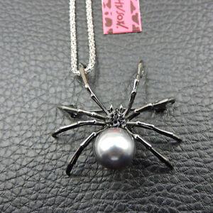 Betsey Johnson Black Enamel Crystal Cute Pearl Spider Pendant Necklace/Brooch