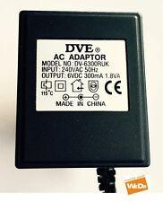 Genuine originale avessi dv-6300ruk Alimentatore AC Adattatore 6vdc 300ma 1.8va UK Plug