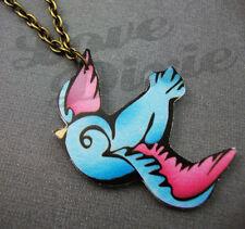 Lonesome Golondrina Tatuajes Collar Azul Rosa Rockabilly Kitsch Emo Diy