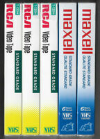 NEW MAXELL & RCA T-120 6 Hour Blank VHS Video Cassette Tapes 5-Pack LOT SEALED