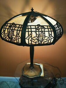 Tiffany Style Table Lamp Stained Glass Vintage Victorian .... please read