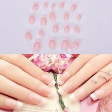 24Pcs/Set French Style Long 3D Full Acrylic Fake Nails Short False Nails
