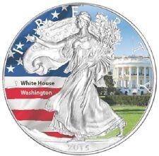 1 x 1 oz silver coin - 2015 American Eagle - coloured - USA White House