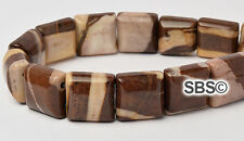 Cappuccino 10x10mm 2-Hole Square Stone Beads (approx. 16 inch strand)