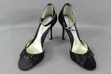 BNIB PURE BY DIANE HASSALL BLACK SILK DIAMONTE STUDDED SHOES: SIZES 2 - 6.5