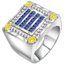 Men's Premium Real Sterling Silver .925 Blue Yellow CZ Stones Ring w/Gift Box