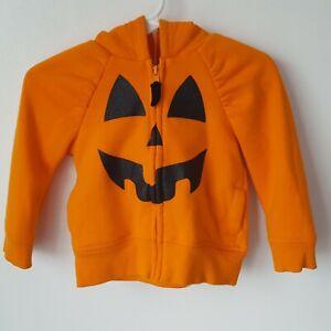 Cat & Jack 12M Orange Pumpkin Hooded Zipper Jacket Jack O Lantern Halloween