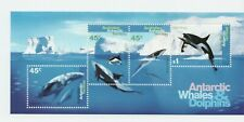 Australian Stamps Antarctic Whales and Dolphins Mini Sheeet MNH FV $2.35