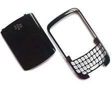 100% Autentico Blackberry 8520 Curve ANTERIORE FASCIA HOUSING + Posteriore Batteria Coperchio Nero