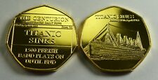 RMS TITANIC SINKS. NEWSPAPER SERIES. 50P COIN COLLECTORS. ALBUM FILLER. GOLD