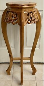 VTG Asian Chippendale Tall Plant Display Stand Marble Top Carved Wood  Lacquer