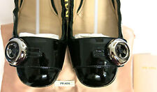 PRADA BLACK PATENT LEATHER BALLET FLAT SHOES SIZE 37.5