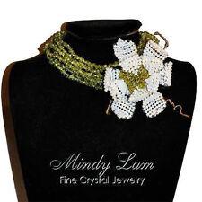 Peridot chips choker &  Swarovski crystals Pin set by Mindy Lam