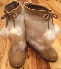 Gap Kids Girls Size 4 White And Tan Brown Faux Fur & Suede Eskimo Boots. NWT